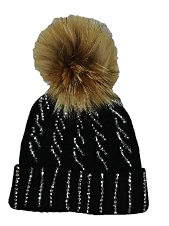 5fbed4b5054 KGM Accessories Luxury Knitted cable Diamante bobble hat with Fuax fur pom ( Grey)  Amazon.co.uk  Garden   Outdoors