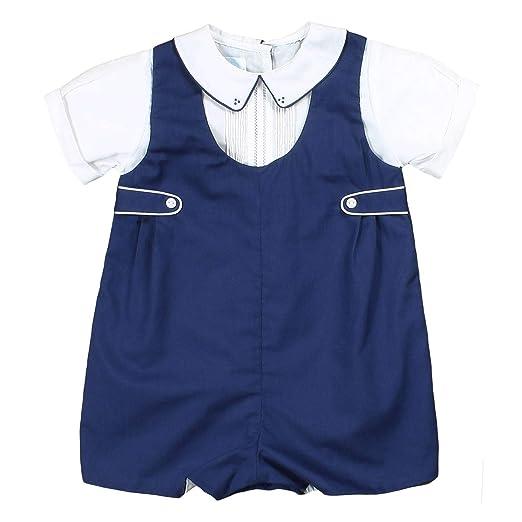 2fd7da6a47 Petit Ami Baby Boys' Shortall with Pintucks and Side Tabs