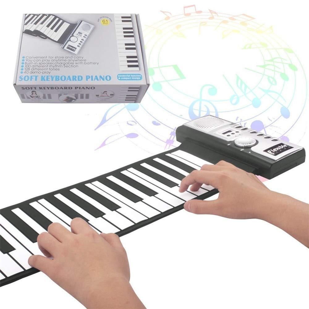 Plegable Flexible Suave Plegable 61 Teclas Flexible Eléctrico Eléctrico Suave Roll Up Teclado Piano, Adecuado para Niños/Principiantes Adultos. Piano de Teclado