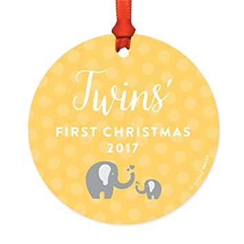 Twins First Christmas Ornament 2019 Amazon.com: Andaz Press Round Metal Christmas Ornament, Twins