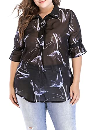 fe0df23eb8b Romacci New Sexy Women Plus Size Print Chiffon Blouse Buttons Turn-Down  Collar Flared Sleeve