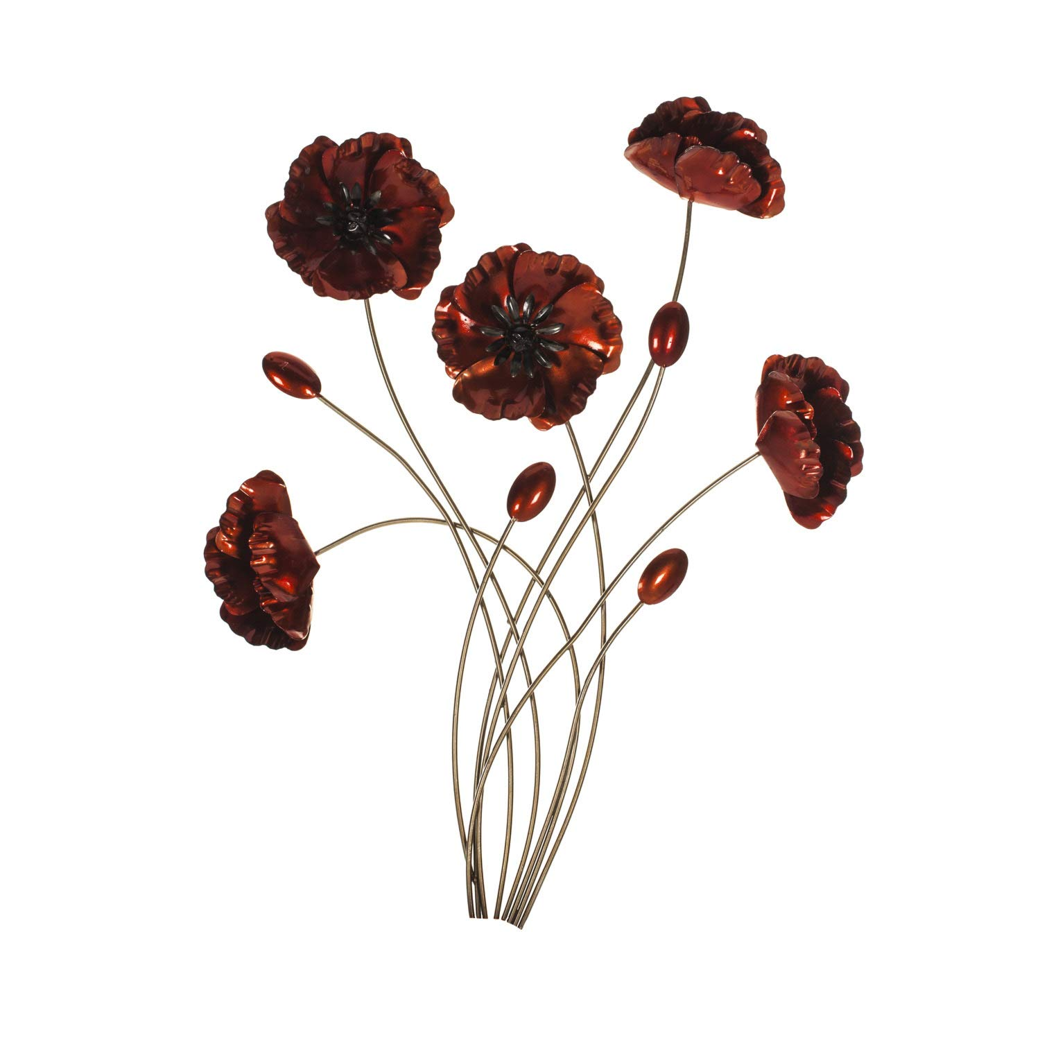 3D Design Bouquet Of Poppies Metal Wall Hanging Art Home Decor Floral Red Flower Design Gift NEW metal homedecor