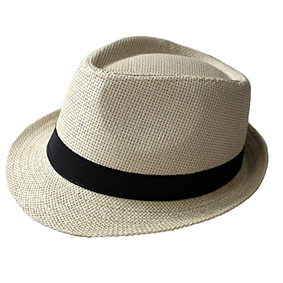 73d36b7d053 Woopower Light Beige Unisex Beach Panama Hats Women Men Crushable Jazz  Straw Cap Hat Panama Gangster