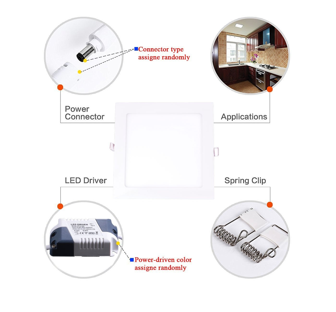 Cmc Led Recessed Light 18w Panel Square Fixture Kit 8 Motorcycle Wiring Diagram Inch Ultra Thin Non Dimmable Back Hole Size 205mm For Home Office Commercial