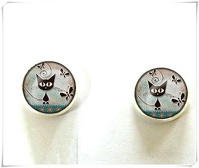 Pendientes de tuerca de plata redonda, gatos, cabujones de cristal, cúpula de cristal, hechos a mano: Amazon.es: Joyería