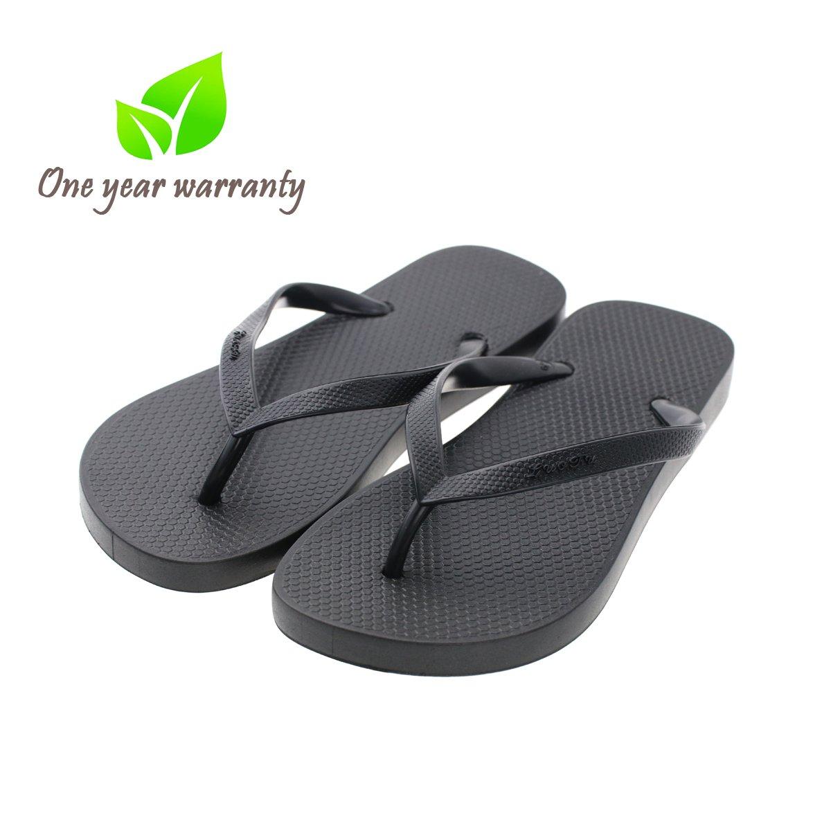 Memorygou Flip-Flops Beach Slim Sandal Women/Men, Black Design Comfort Proof Slippers Black (US 12, Black)