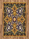 Arabian Area Rug by Lunarable, Arabic Islamic Floral Mosaic Patterns South Eastern Antique Orient Ottoman Artwork, Flat Woven Accent Rug for Living Room Bedroom Dining Room, 4 x 6 FT, Multicolor