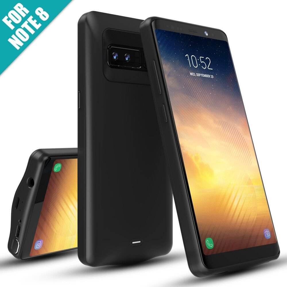 Galaxy Note 8 Battery Case,5500mAh External Battery Portable Charger Charging Case for Samsung Galaxy Note 8(6.3 inch)Extended Battery Slim Juice Pack/Type C Cable Input Mode-Black