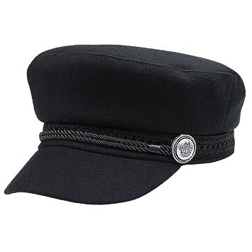 f53ea09c10c Qlan Black Hats For Women Men Octagonal Cap Wool Button Baseball Caps