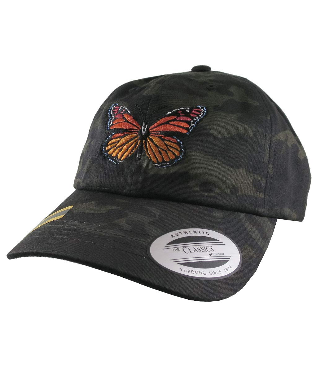 ba224de2465e97 Monarch Butterfly Embroidery on an Adjustable Black Multicam Yupoong  Unstructured Classic Baseball Cap Dad Hat Style: Amazon.ca: Handmade