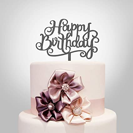 Happy Birthday Cake Topper Black Acrylic Calligraphy Bling Decoration Sign Party Banner
