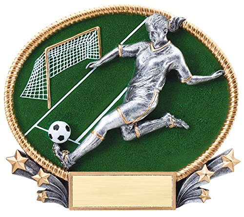 Etch Workz Gold/Silver Soccer Award - 3D Female Soccer Trophy - Engraved Soccer Trophy