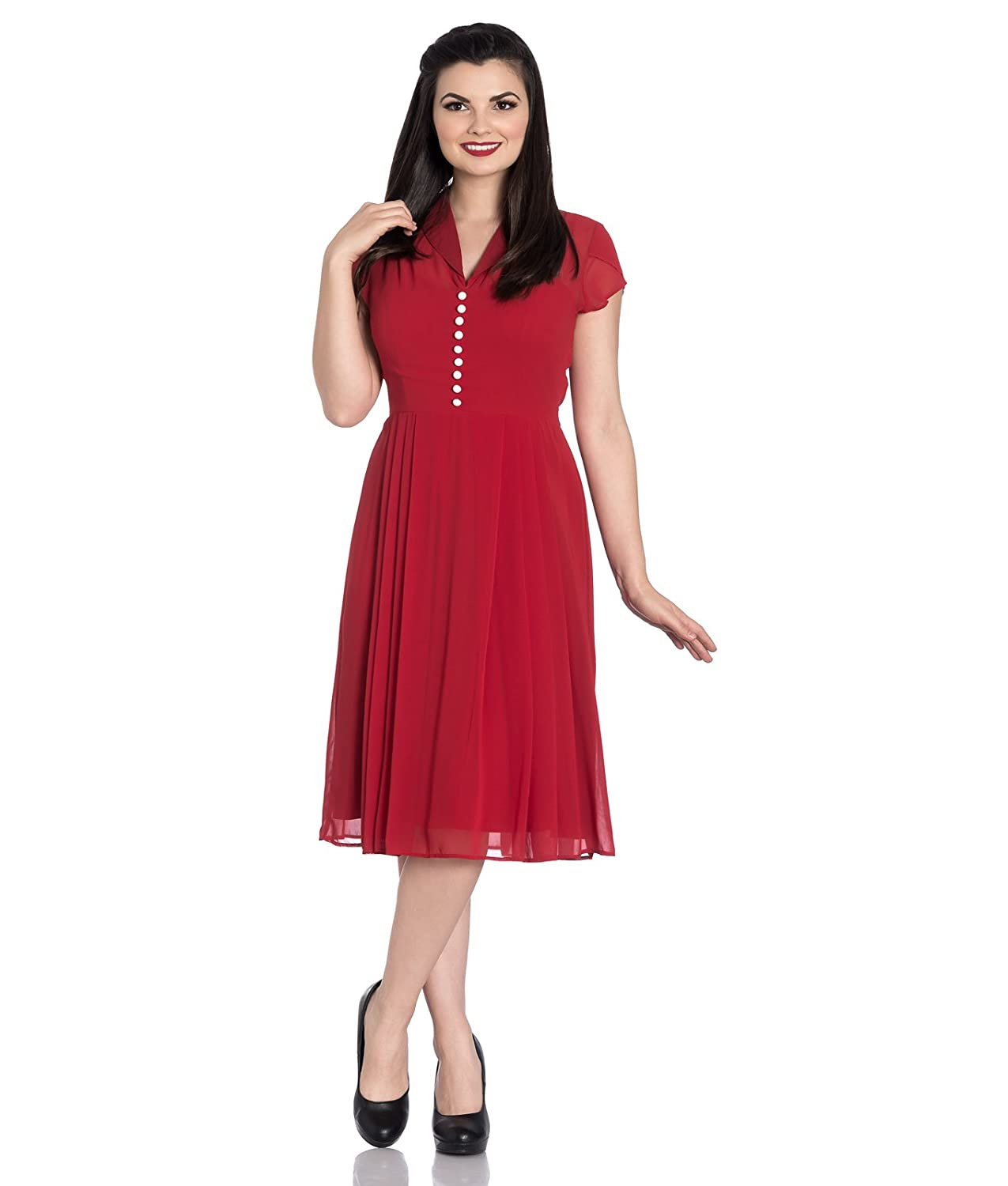 7d980002831d Hell Bunny Paige 40s Vintage Style Chiffon Tea Red Dress: Amazon.co.uk:  Clothing
