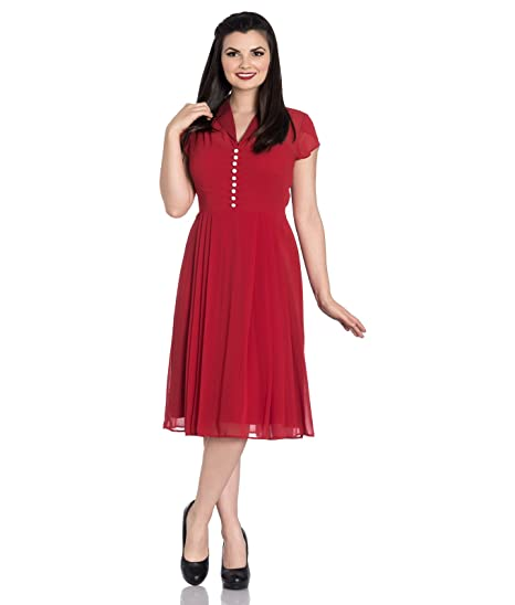 df6cad3f6d Hell Bunny Paige 40s Vintage Style Chiffon Tea Red Dress  Amazon.co.uk   Clothing