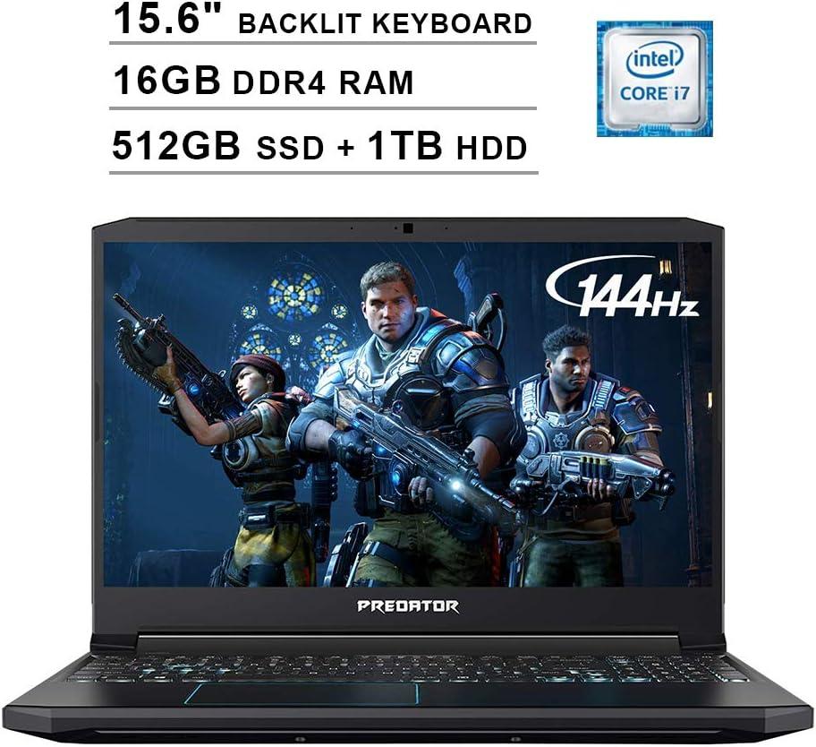 Acer 2019 Predator Helios 300 15.6 Inch FHD Gaming Laptop (9th Gen Intel 6-Core i7-9750H up to 4.5 GHz, 16GB RAM, 512GB PCIe SSD + 1TB HDD, Backlit Keyboard, GTX 1660 Ti, WiFi, Bluetooth, Win 10)