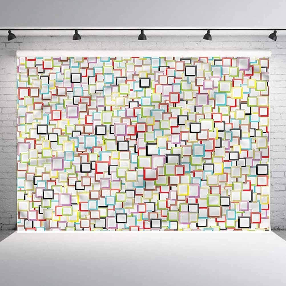 6x6FT Vinyl Wall Photography Backdrop,Geometric,Colorful Square Shape Photo Backdrop Baby Newborn Photo Studio Props