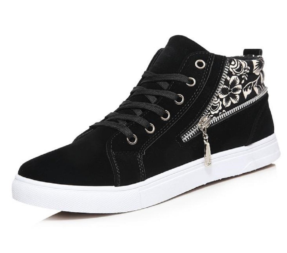 Kuro&Ardor High Top Sneaker Shoes for Men Floral Pattern Cool Zipper Big Boys (9 US 26.5cm, Black)