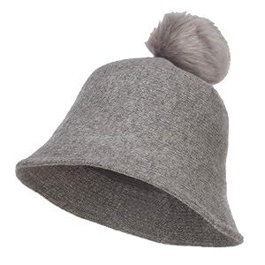 Pom Pom Wool Bucket Hat - Grey OSFM