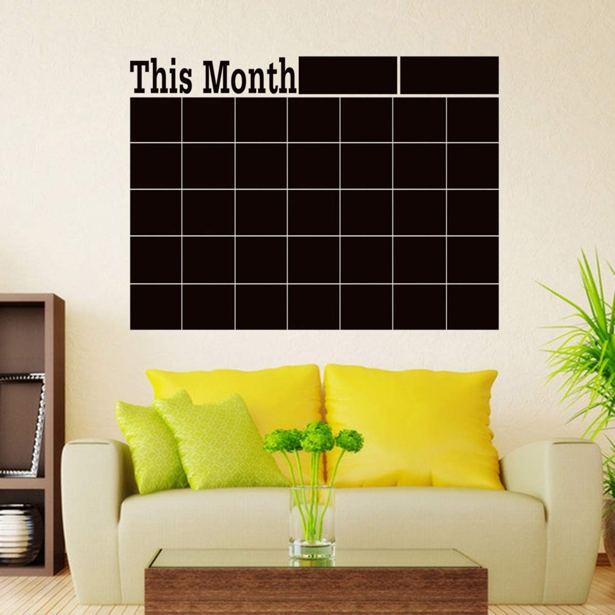 Nosii Planificador mensual de Bricolaje Pizarra Pizarra extra/íble Calendario Etiqueta de la Pared decoraci/ón de la Oficina en casa
