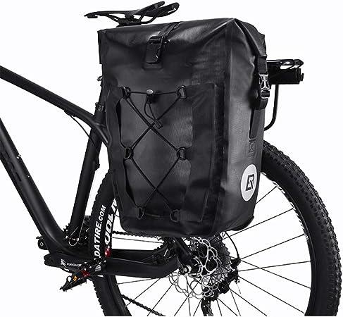 CARACHOME Alforja Bici, Alforjas Bicicleta Multifunción De 27 litros,Bolsa Bici Ultraligera Y Plegable, Bolsa para Bicicleta con Correa De Hombro Alargada,Black: Amazon.es: Hogar