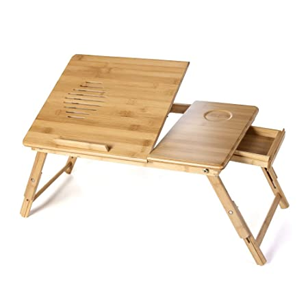 Songmics Mesa para ordenador portátil de Bambú LLD55L: Amazon.es ...