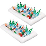 "Cheflikes 2Pcs Inflatable Serving Bar Ice Cooler, Salad Buffet Serving Tray & Drink Holder, Portable Serving Tray With Drain Plug, Suitable For BBQ, Pool Party, Picnic & Camping, 51""x24""x4.5"""