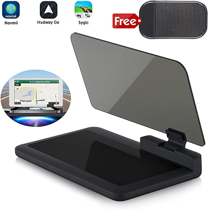 Car HUD Smartphone Navigation Holder Bracket for Cellphone HD Glass Plate