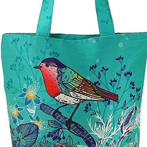 Digital stampato multiuso Moda Shopping Bag - uccello colorato Faux seta Tote Bag con Polysatin Fodera