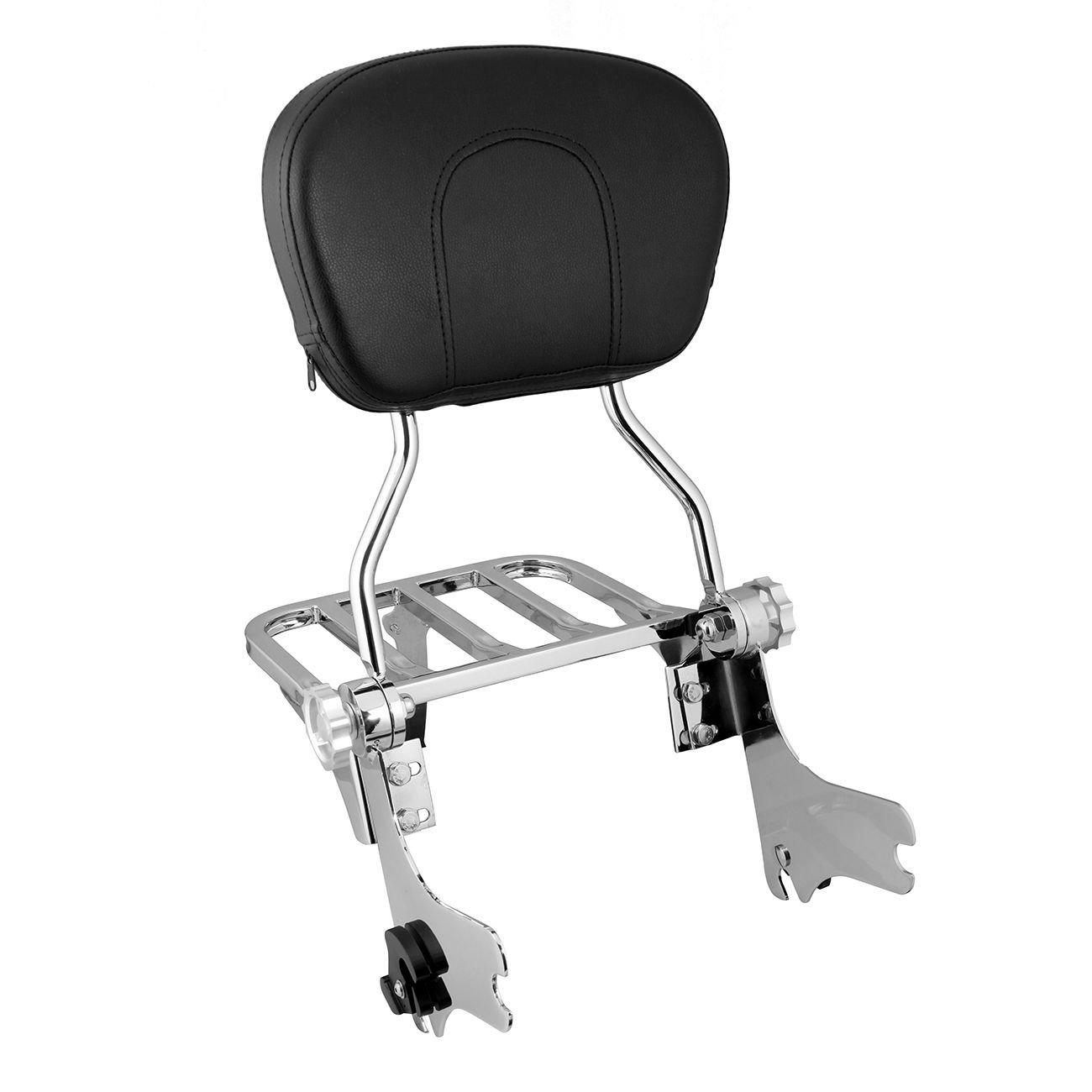 Iglobalbuy Chrome Adjustable Detachable Backrest Sissy Bar With Luggage Rack Pad For Harley Road King Electra Glide Street Glide