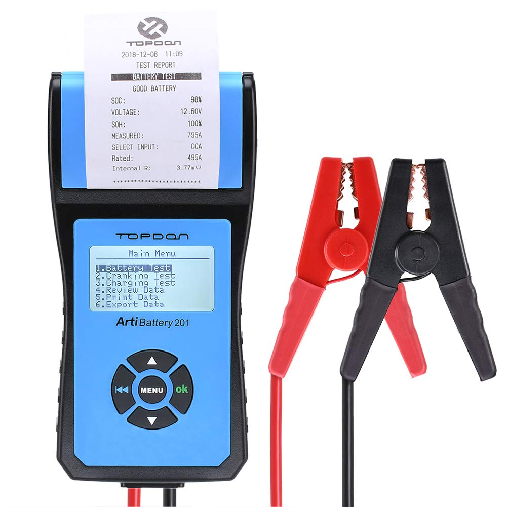 TT TOPDON AB 201 TOPDON AB201 Analyzer 12V/24V 100-2000 CCA with Cranking/Charging Tests, Data Printing/Export/Review Functions for DIYers and Garages Battery Load Tester -Black and Blue by TT TOPDON (Image #1)