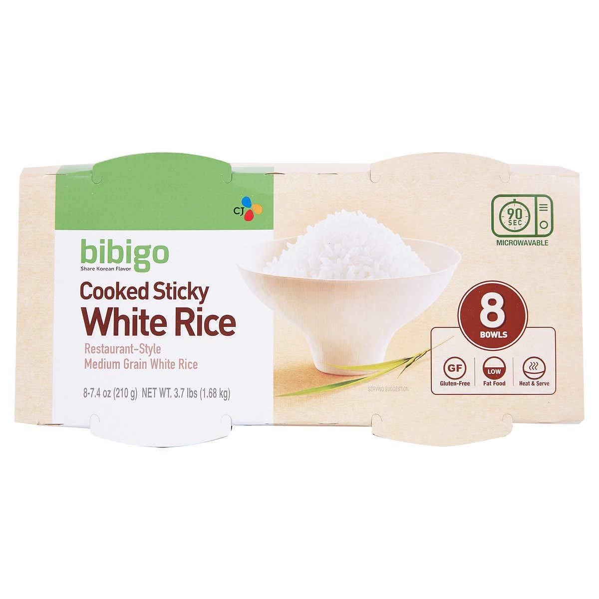 Bibigo Restaurant-Style Cooked Sticky White Rice, 8 - 7.4-ounce Bowls - PACK OF 2