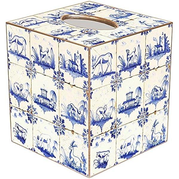Delft Tiles Paper Mache Tissue Box Cover Home Kitchen