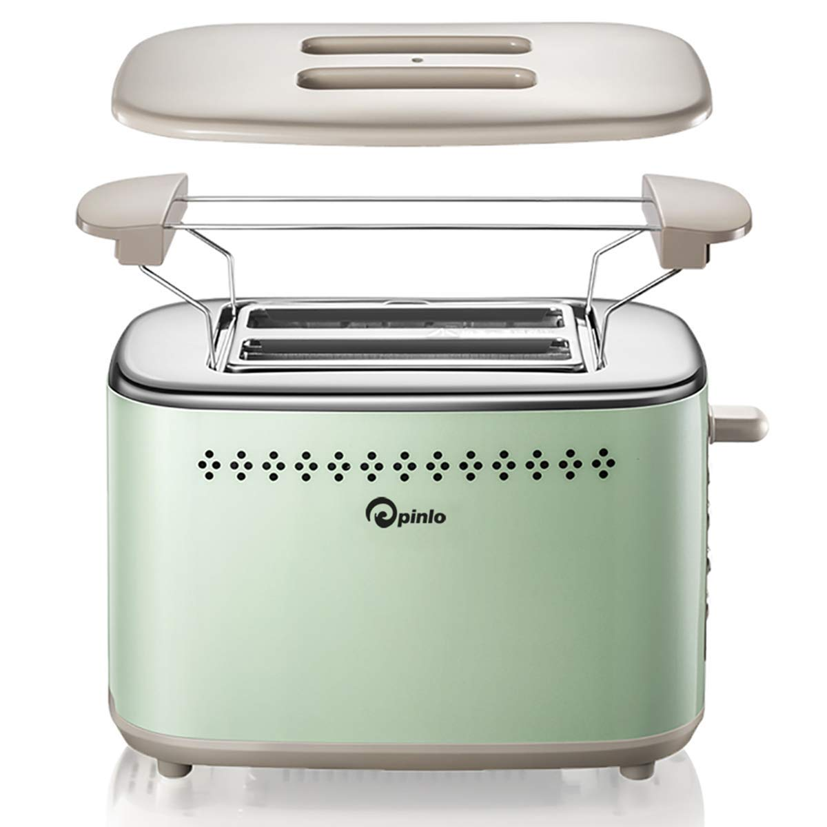 Toaster 2-Slice Stainless Steel Toasters with 2 Extra Wide Slots 6 Browning Dials and Removable Crumb Tray Warming Rack for Breakfast Bread Muffins Ovens Mint Green Retro Toasters by pinlo