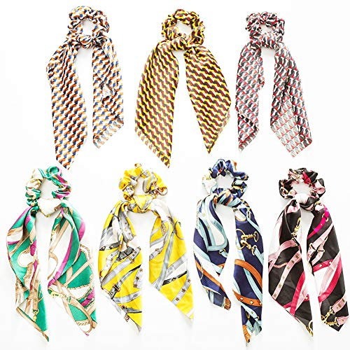 Weiking 7Pcs Silk Satin Hair Scrunchies rope Scarf Hair Ties with Tassel knotted ponytail head Flower Pattern, Stripe Printed Hair Bobbles for Ponytail Holder Vintage bow knot Hair Accessories
