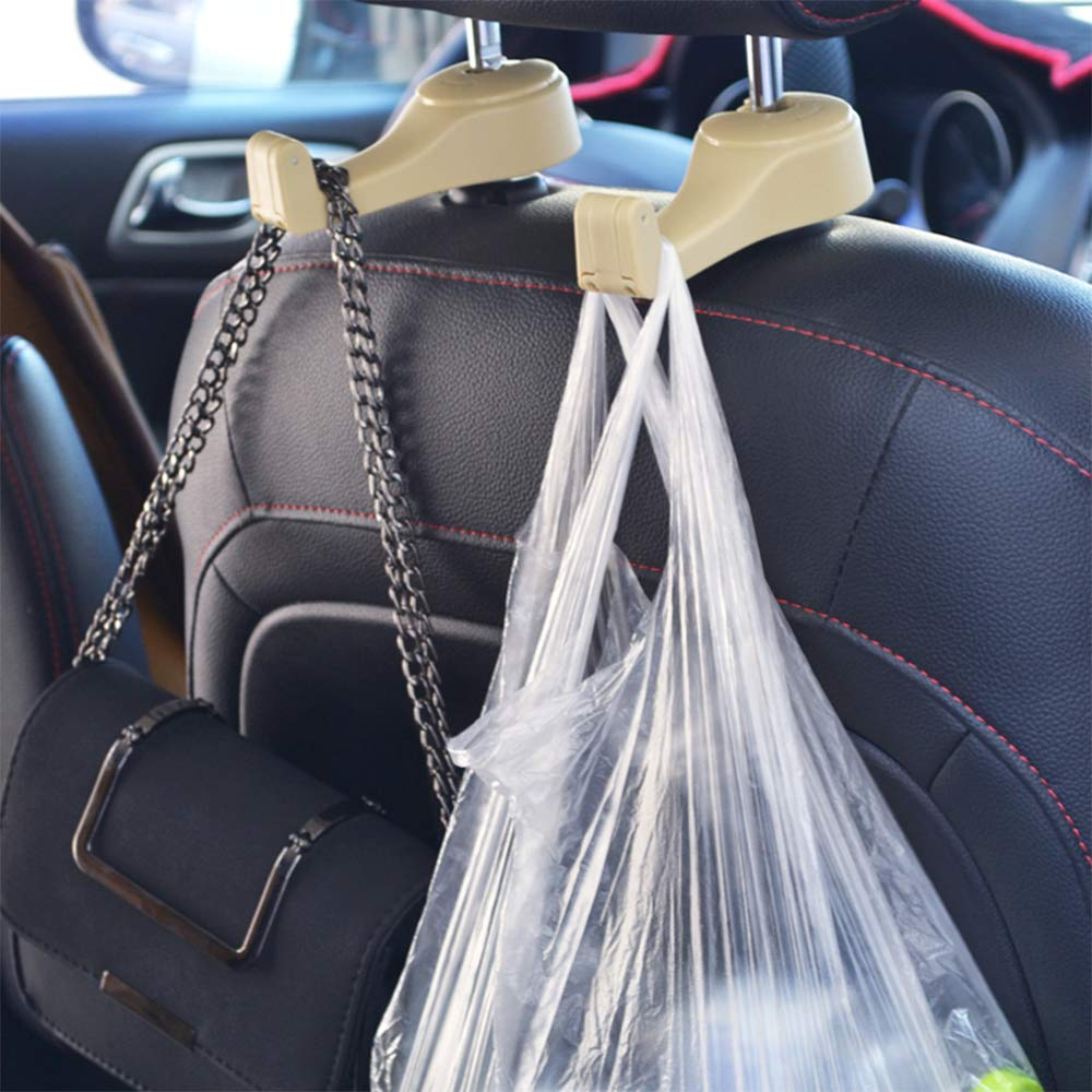 4 Pack Car Hooks 2 in 1 Universal Car Vehicle Front Back Seat Headrest Hanger Hooks Car Headrest Hooks with Lock Suitable for Backpack Handbags Coat Wallets Groceries Garbage Bag Mobile Phone TONGYANG
