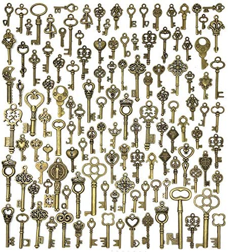 125 PCS Vintage Skeleton Key Set Charms, JIALEEY Mixed Antique Style Bronze Brass Key Set Charms for Pendant DIY Jewelry Making Wedding Party Favors