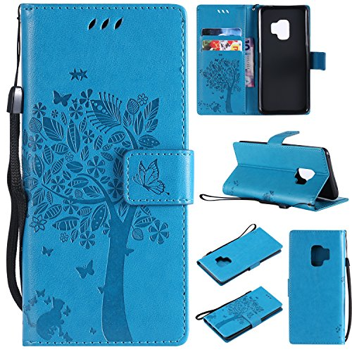 HAOTP Galaxy S9 Wallet Case, Floral Flower Love Tree & Cat Embossed PU Leather Magnetic Flip Shockproof TPU Inner Bumper Card Holders & Hand Strap Wallet Purse Case for Samsung Galaxy S9 Blue