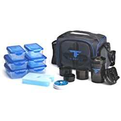 ThinkFit Insulated Lunch Boxes with 6 Portion Control Containers Reusable Ice Pack Pill Box Shaker Cup Shoulder Strap and Extra Storage Pocket (Blue)