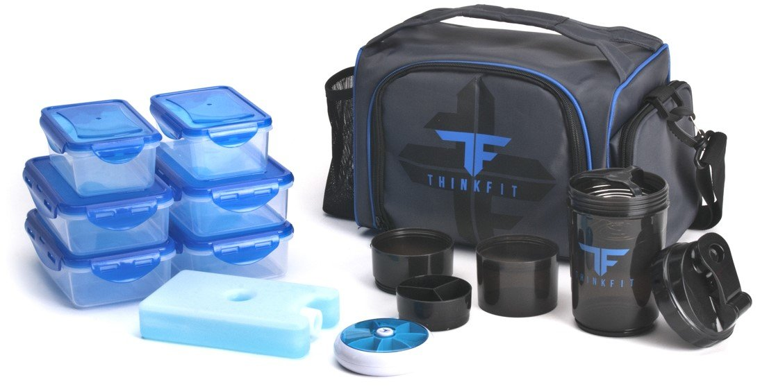 ThinkFit Insulated Lunch Boxes with 6 Portion Control Containers, Reusable Ice Pack, Pill Box, Shaker Cup, Shoulder Strap and Extra Storage Pocket (Blue)
