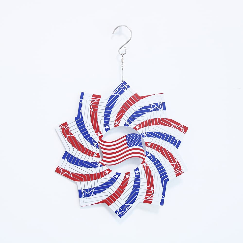 HsHdesign American Flag Wind Chime Special Outdoor Christmas Decorations for Garden, Yard, Patio, Housewarming Gifts,Yard Garden Hanging Decoration American Flag Wind Chime