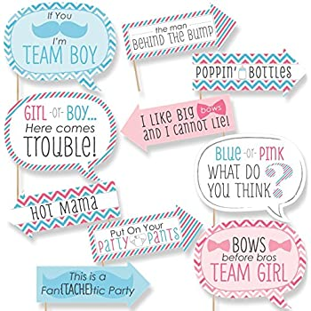 Funny Chevron Gender Reveal   Baby Shower Photo Booth Props Kit   10 Piece