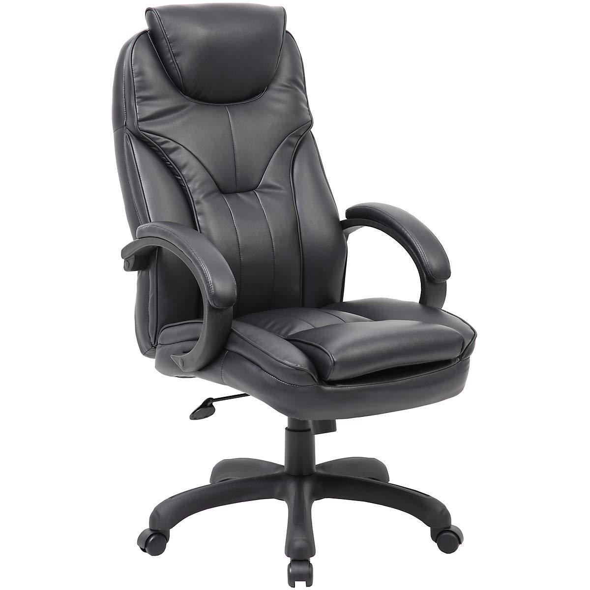 Drehstuhl Toskana mit hoher Rückenlehne und Lederbezug, schwarz - - - Ledersessel mit gepolsterten Armlehnen - Eleganter Bürostuhl mit Leichtlaufrollen 12565b