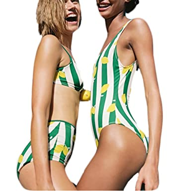 56eba24881b CARMELAA Green Striped Lemon Bikini High Waist Bathing Suits Women Monokini  Swimwear Female Swimsuit Bathers Swim