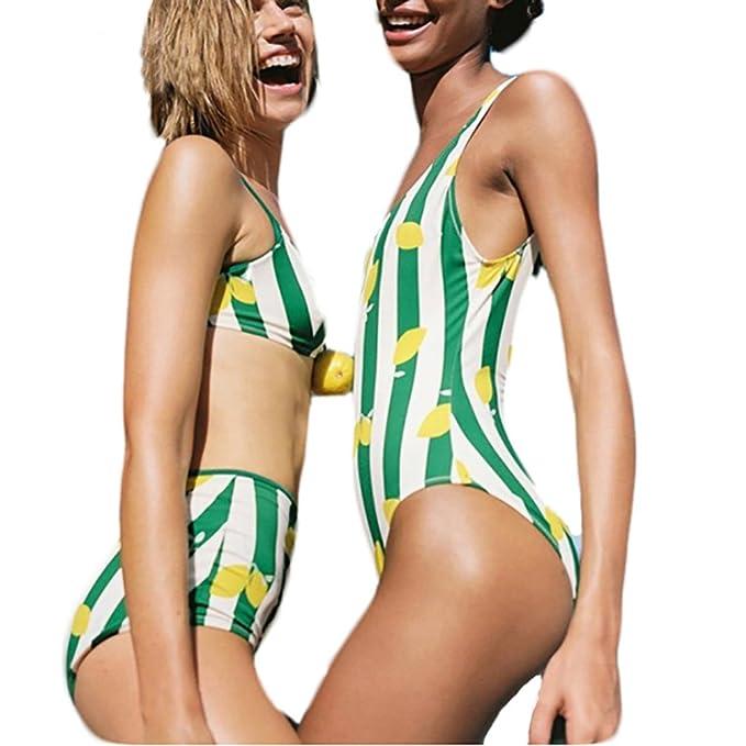 Amazon.com: carmelaa rayada verde limón Bikini Cintura Alta ...