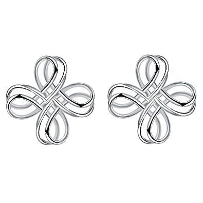 5418174ff0e Amazon.com: Women's Sterling Silver Simple Accent Knot Small Stud ...