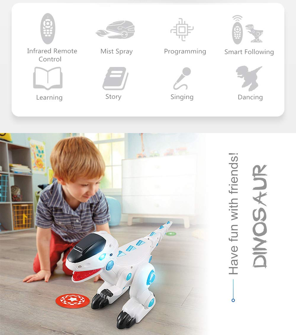 OceanEC Electronic Dinosaur Robot Toy, Multi-Functional Walking Dinosaur Robot Battery Powered Toy with Flashing Lights Sounds Movement for Kids (Remote Control) by OceanEC (Image #2)