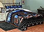 Fancy Collection 3 Pc Blanket Sumptuously Soft Plush Wolf Blue Black Indian with Sherpa Winter Blankets Bedspread Super Soft New # Wolf Blue