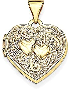 IceCarats 14k Yellow Gold Heart Locket Necklace That Holds Pictures