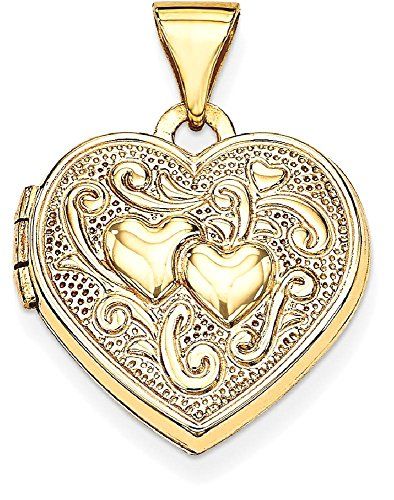 ICE CARATS 14k Yellow Gold Heart Photo Pendant Charm Locket Chain Necklace That Holds Pictures by ICE CARATS