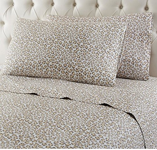 4 Piece Brown Leopard Themed Sheets Cal King Set, Beautiful Luxurious Wild African Safari, Zoo, Jungle Exotic Animal Print Bedding, Features Wrinkle Shrink Resistant, Polyester, For Kids Bedrooms
